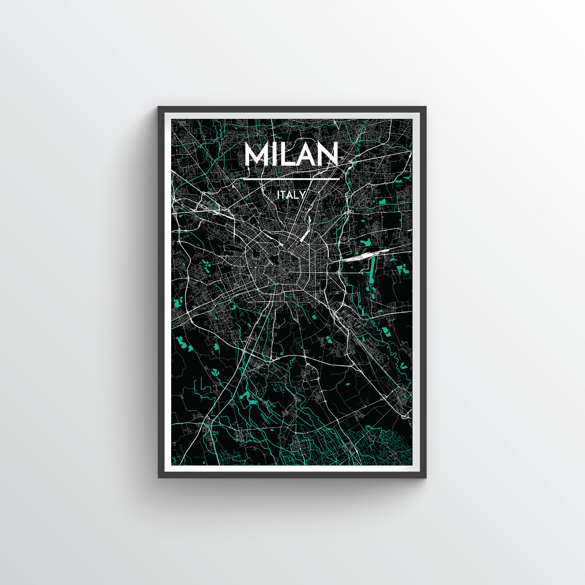 Milan City Map Art Print - Point Two Design - Black & White Print