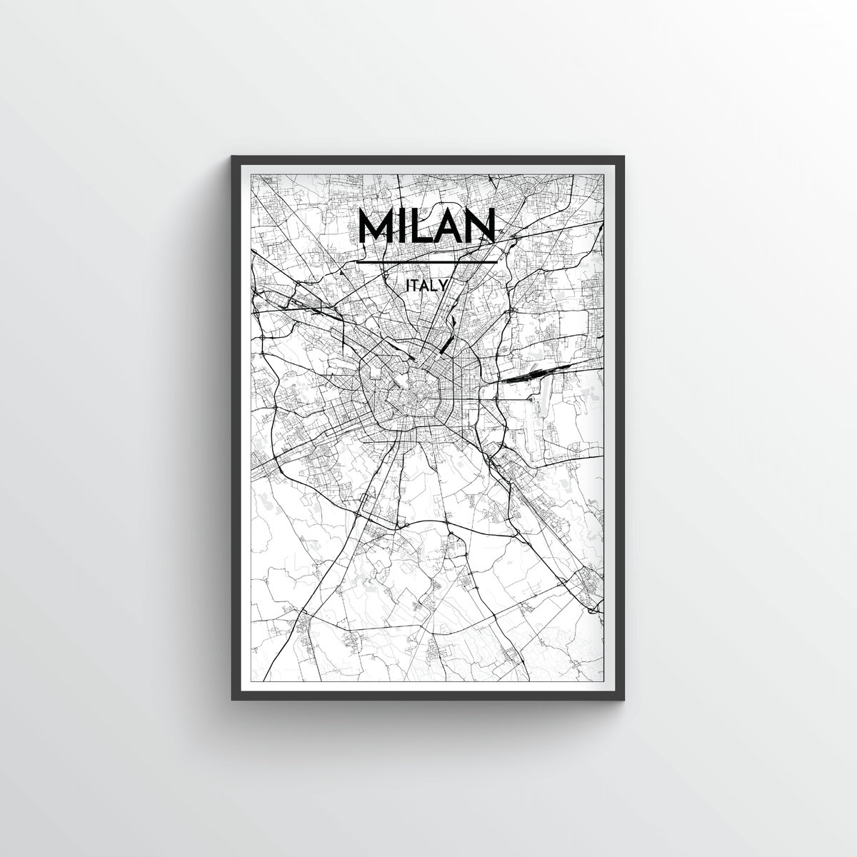 Milan City Map Art Print - Point Two Design