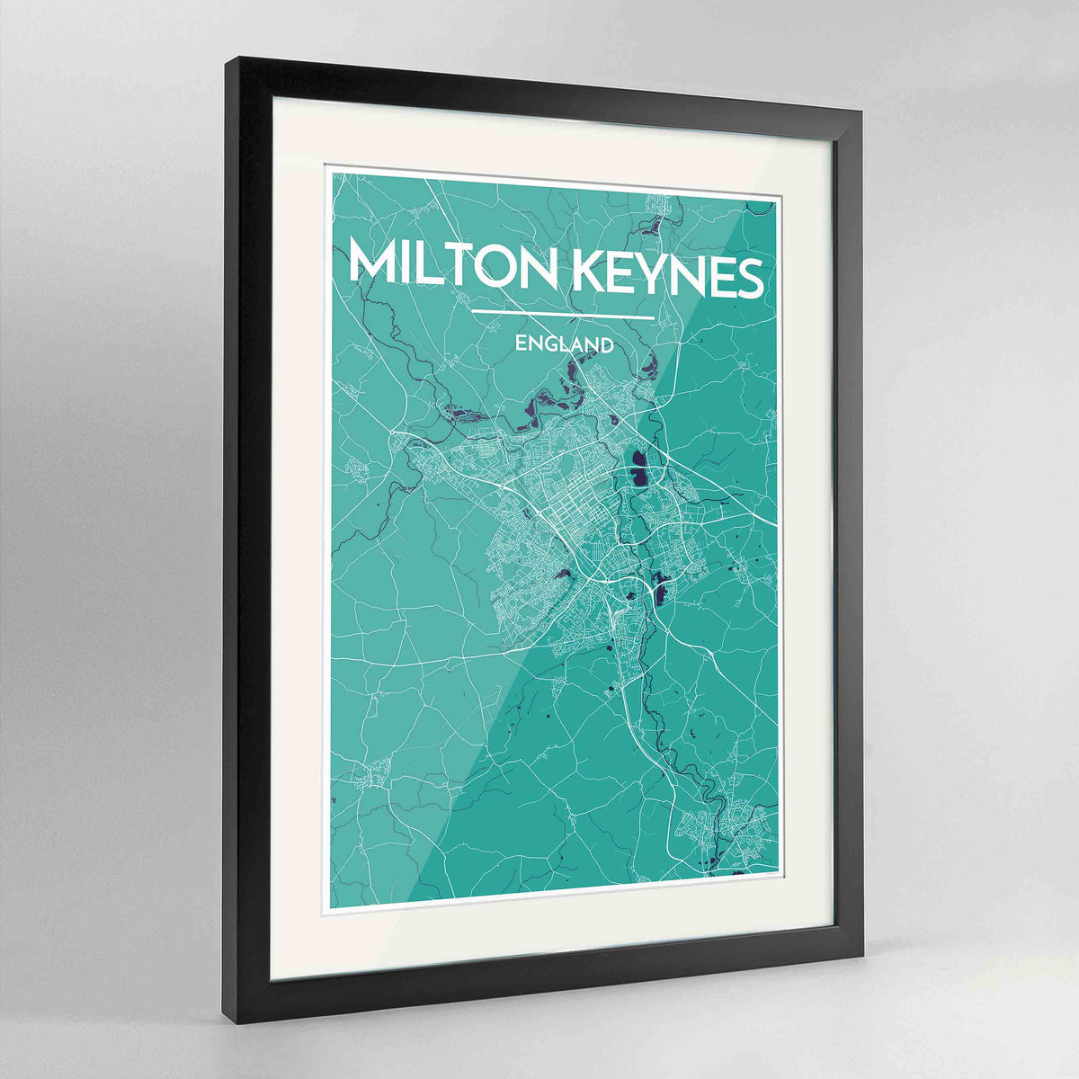 "Framed Milton Keynes Map Art Print 24x36"" Contemporary Black frame Point Two Design Group"