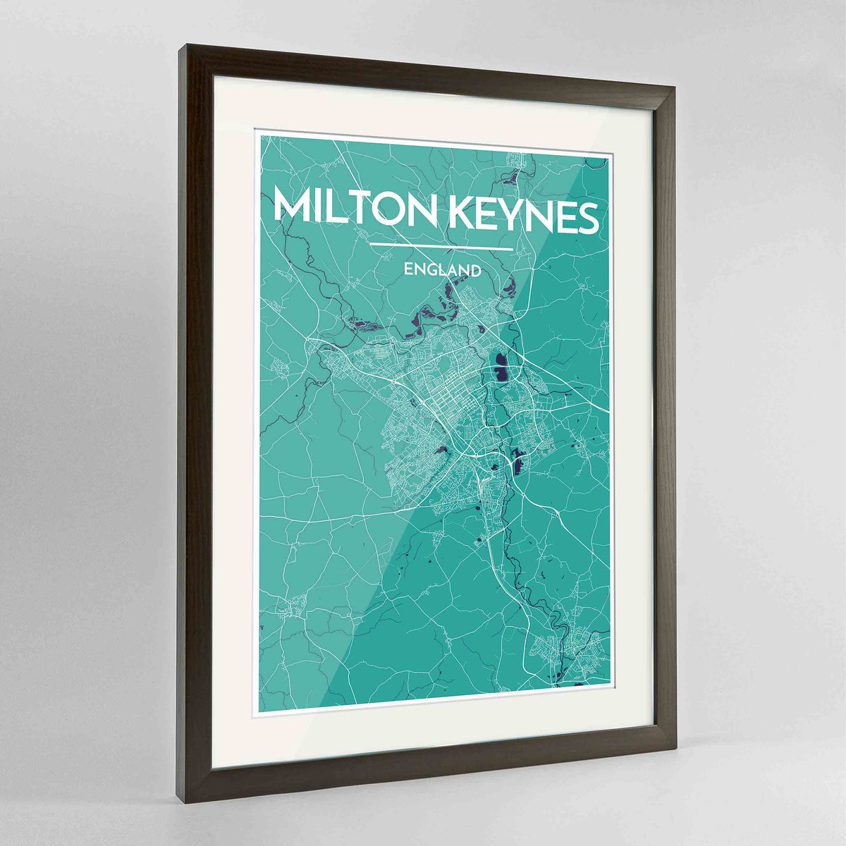 "Framed Milton Keynes Map Art Print 24x36"" Contemporary Walnut frame Point Two Design Group"