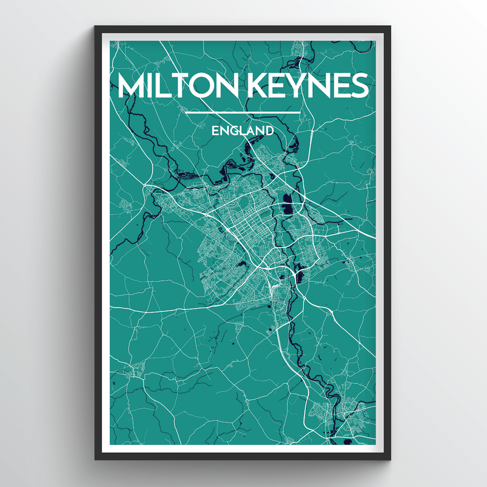 Milton Keynes City Map Art Print - Point Two Design