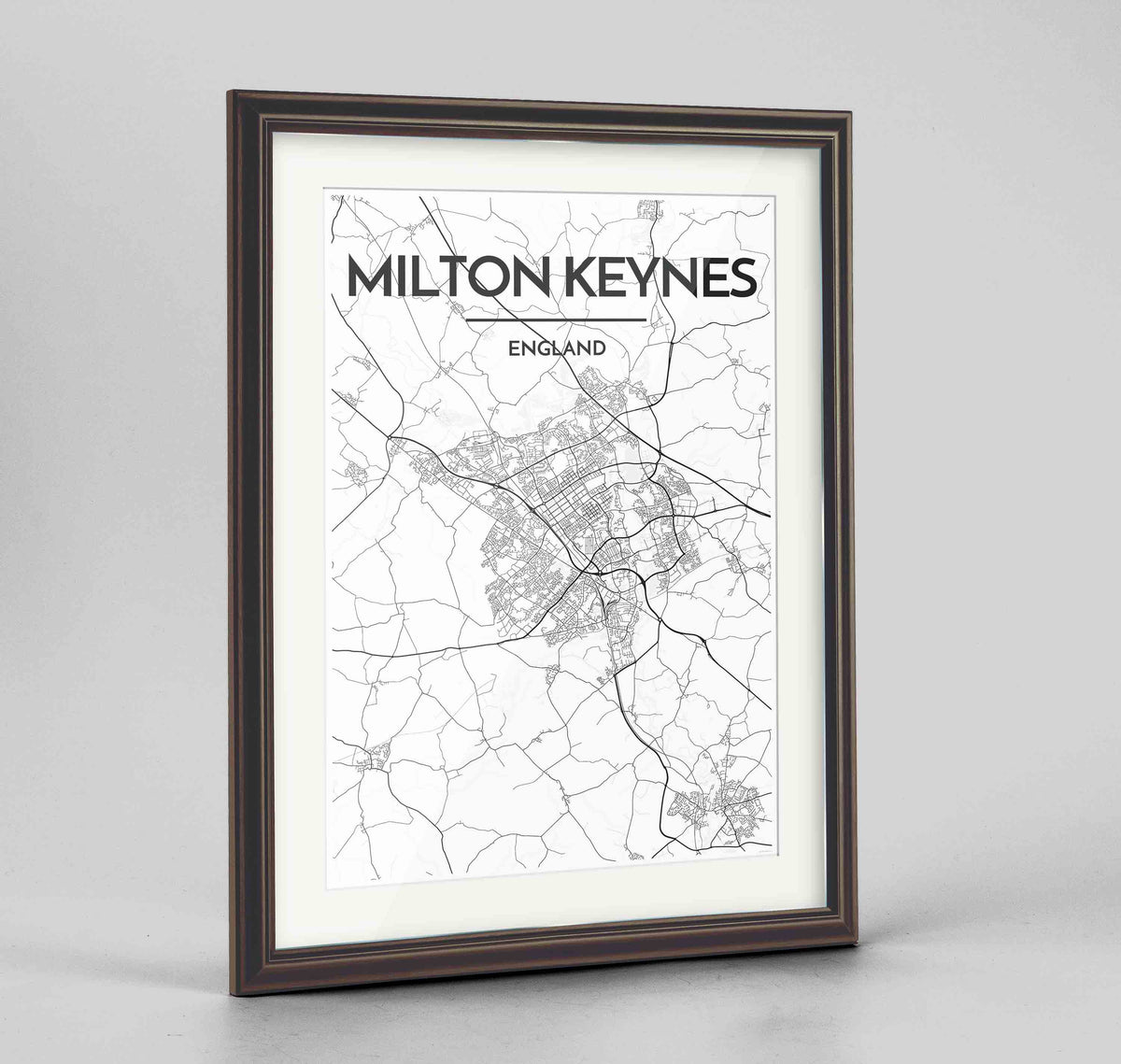 "Framed Milton Keynes Map Art Print 24x36"" Traditional Walnut frame Point Two Design Group"