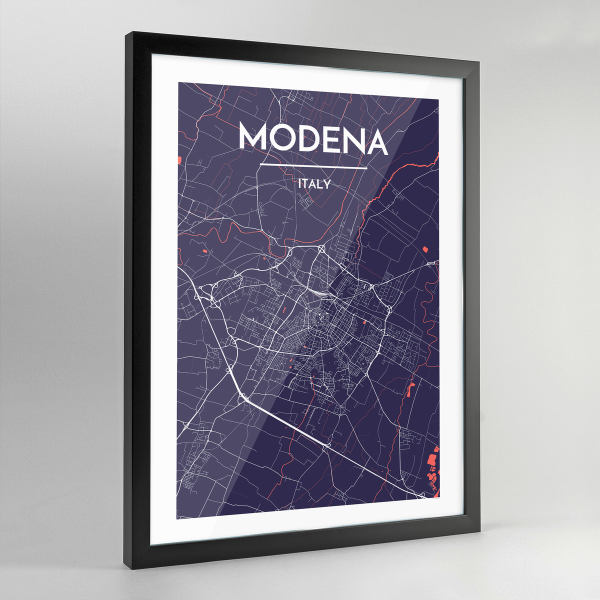 Framed Modena City Map Art Print - Point Two Design