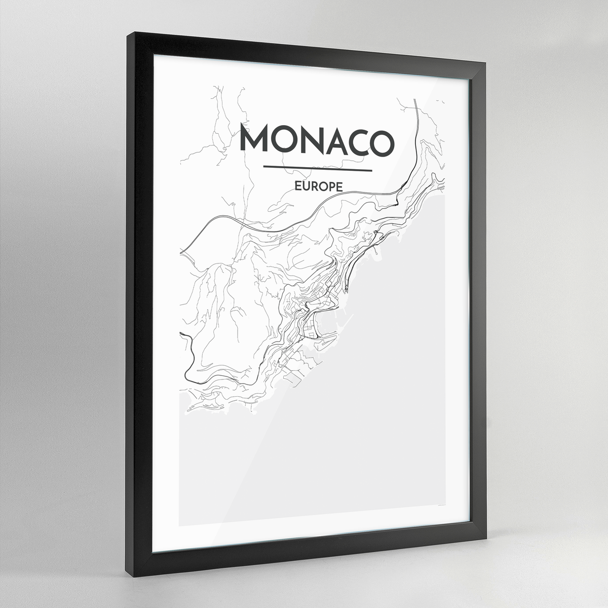 Monaco Map Art Print - Framed