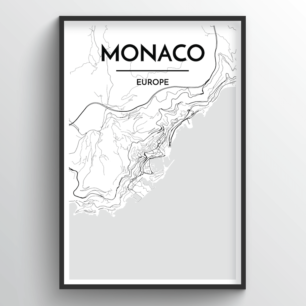 Monaco City Map Art Print - Point Two Design