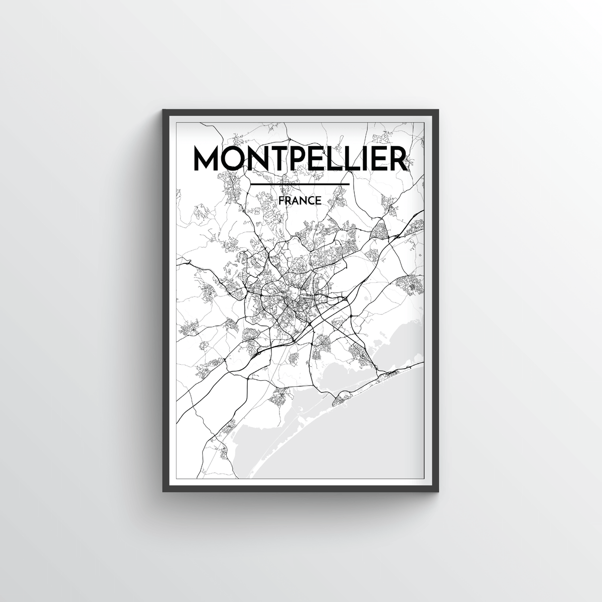 Montpellier City Map Art Print - Point Two Design