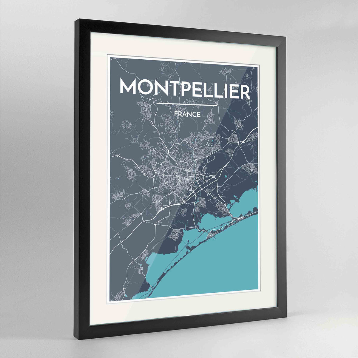 "Framed Montpellier Map Art Print 24x36"" Contemporary Black frame Point Two Design Group"