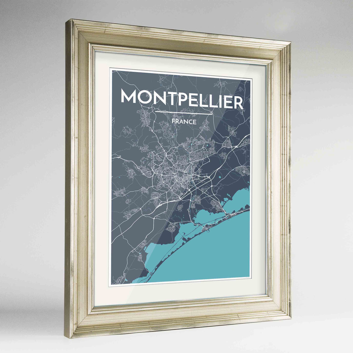 "Framed Montpellier Map Art Print 24x36"" Champagne frame Point Two Design Group"