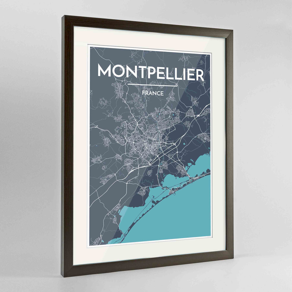 "Framed Montpellier Map Art Print 24x36"" Contemporary Walnut frame Point Two Design Group"
