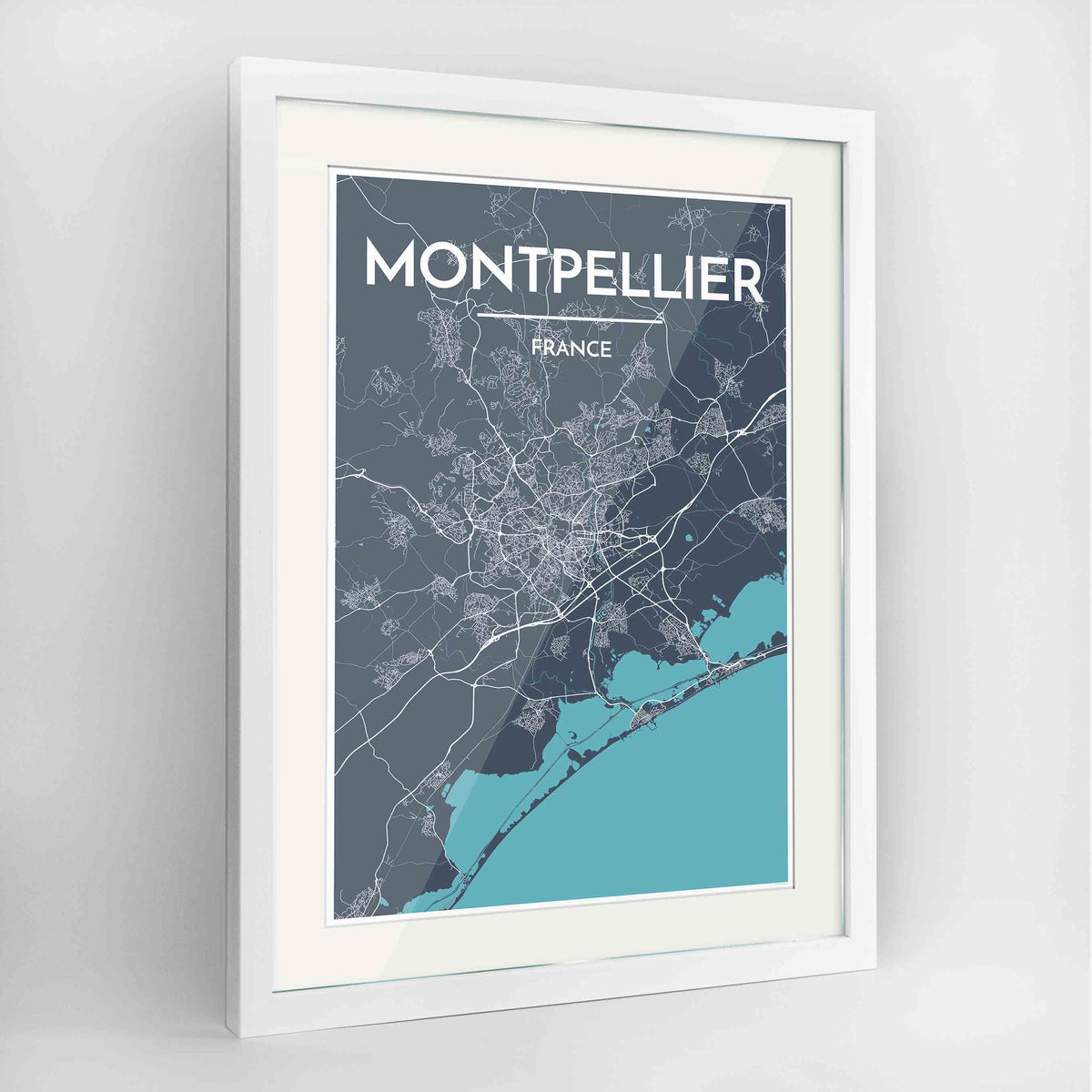 "Framed Montpellier Map Art Print 24x36"" Contemporary White frame Point Two Design Group"