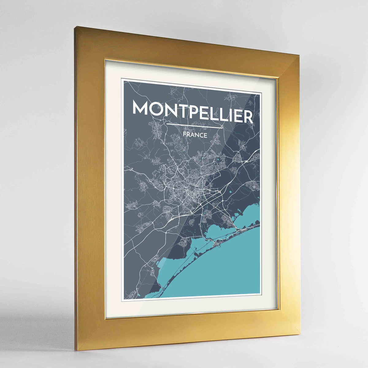 "Framed Montpellier Map Art Print 24x36"" Gold frame Point Two Design Group"