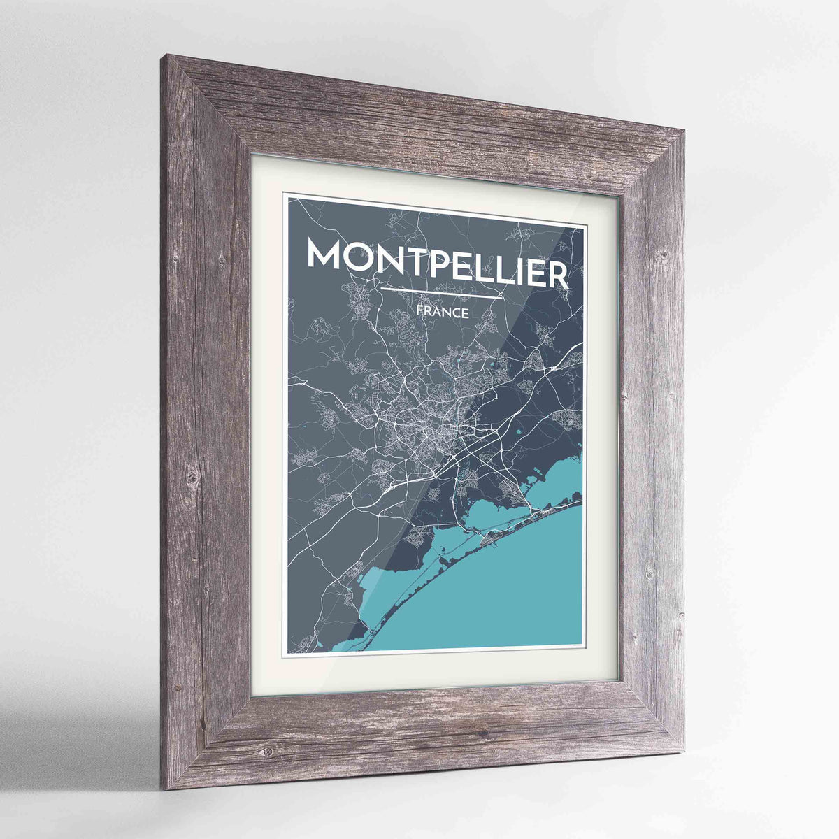 "Framed Montpellier Map Art Print 24x36"" Western Grey frame Point Two Design Group"