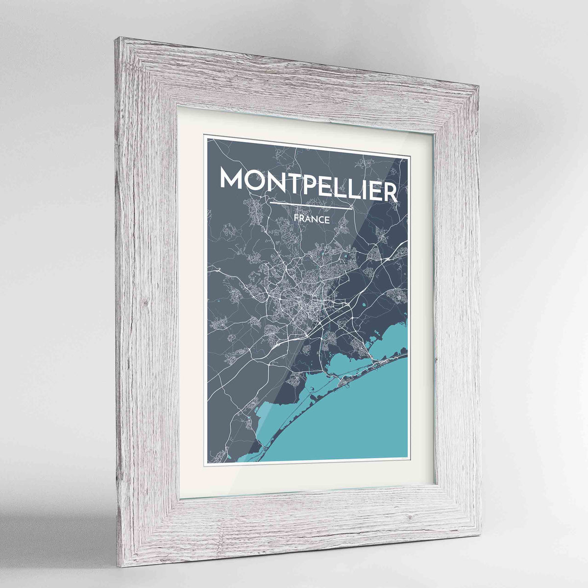 "Framed Montpellier Map Art Print 24x36"" Western White frame Point Two Design Group"