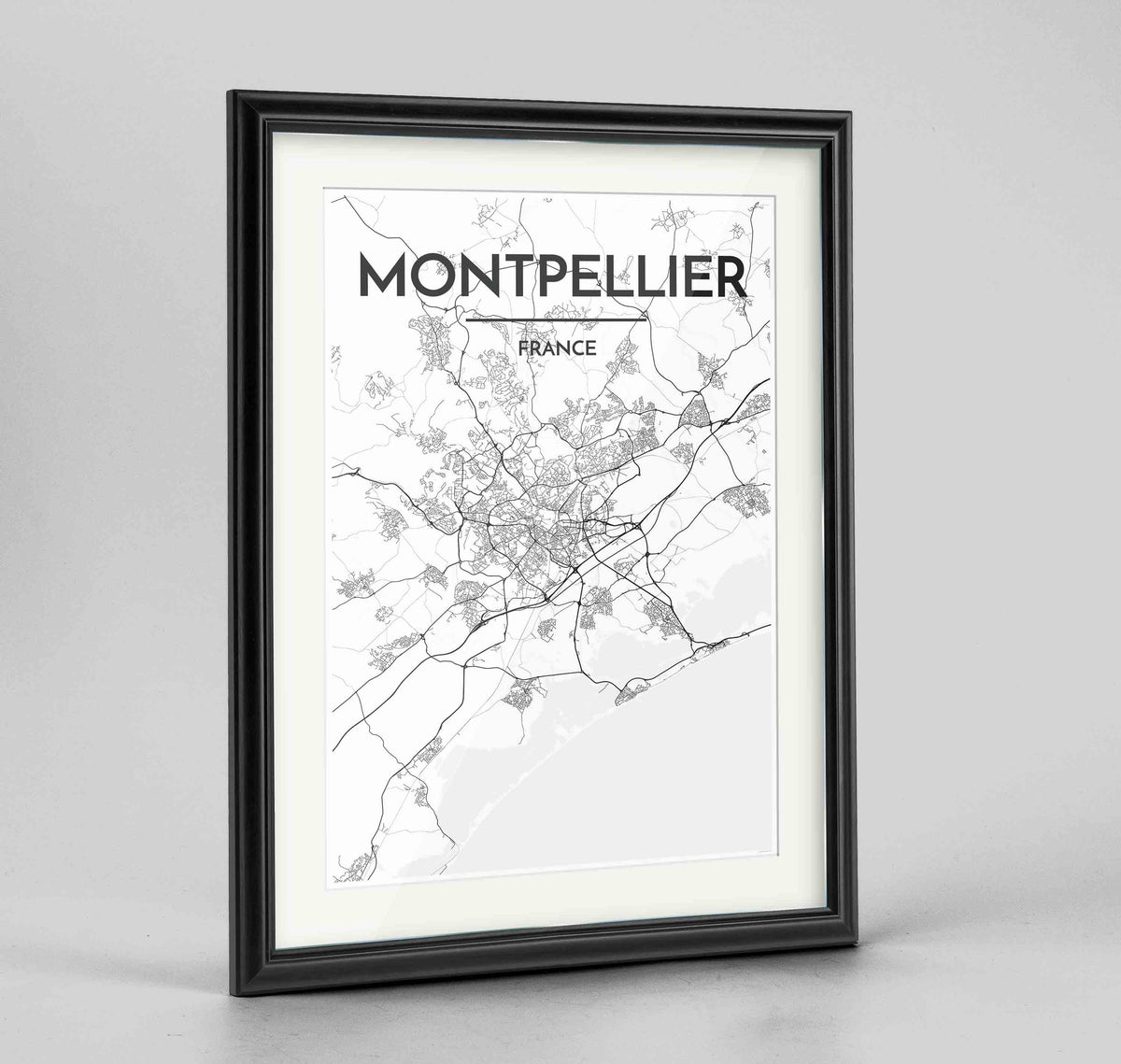 "Framed Montpellier Map Art Print 24x36"" Traditional Black frame Point Two Design Group"