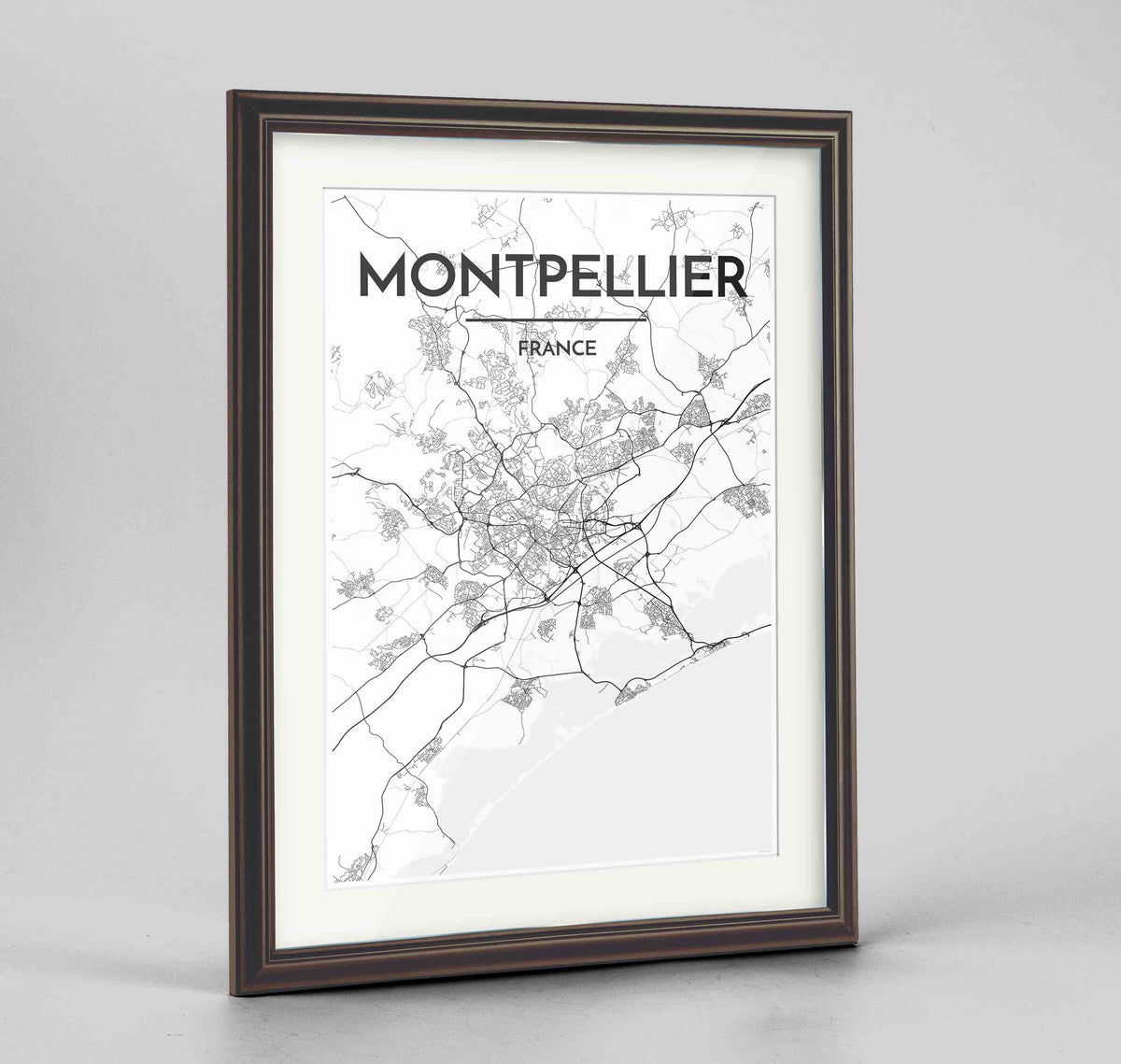 "Framed Montpellier Map Art Print 24x36"" Traditional Walnut frame Point Two Design Group"