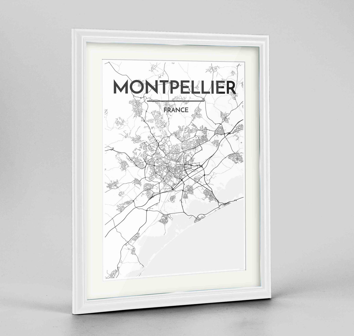 "Framed Montpellier Map Art Print 24x36"" Traditional White frame Point Two Design Group"