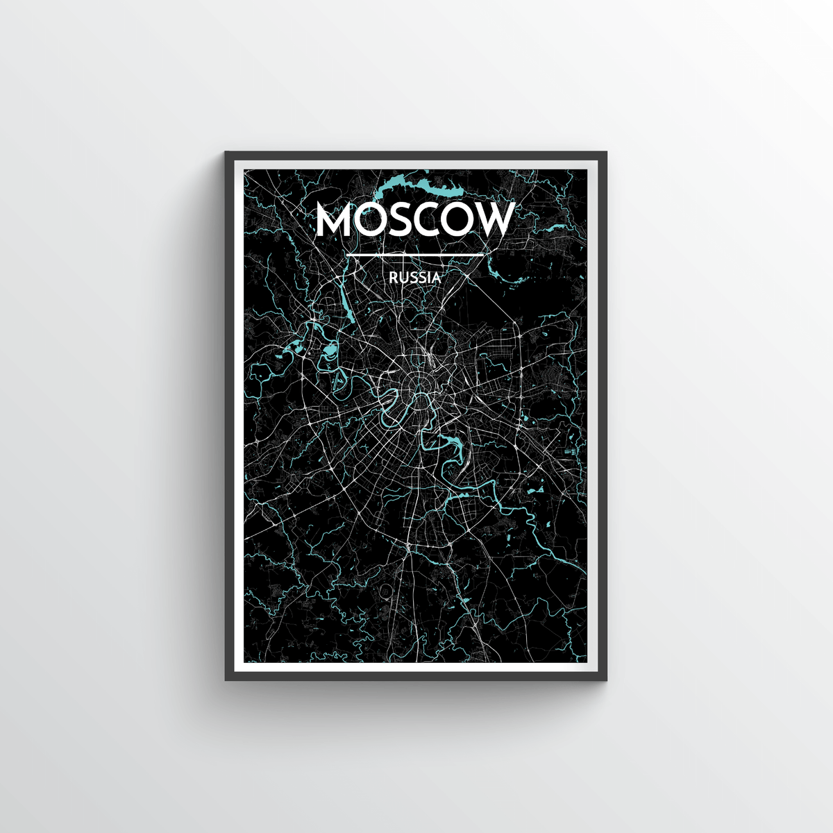 Moscow City Map Art Print - Point Two Design - Black & White Print