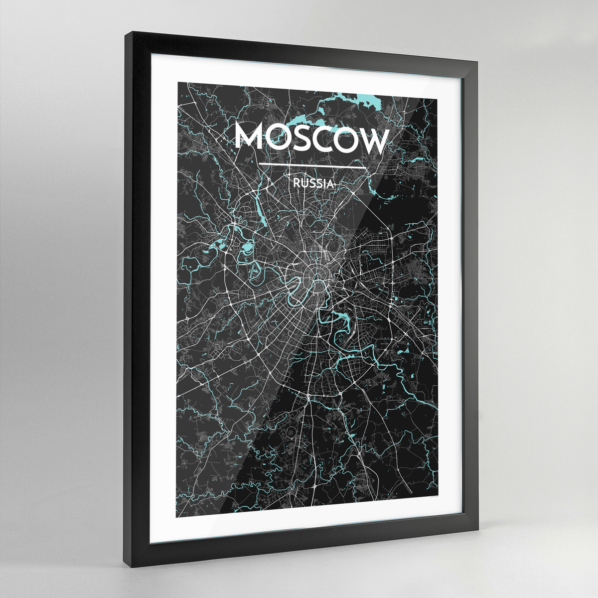 Framed Moscow City Map Art Print - Point Two Design