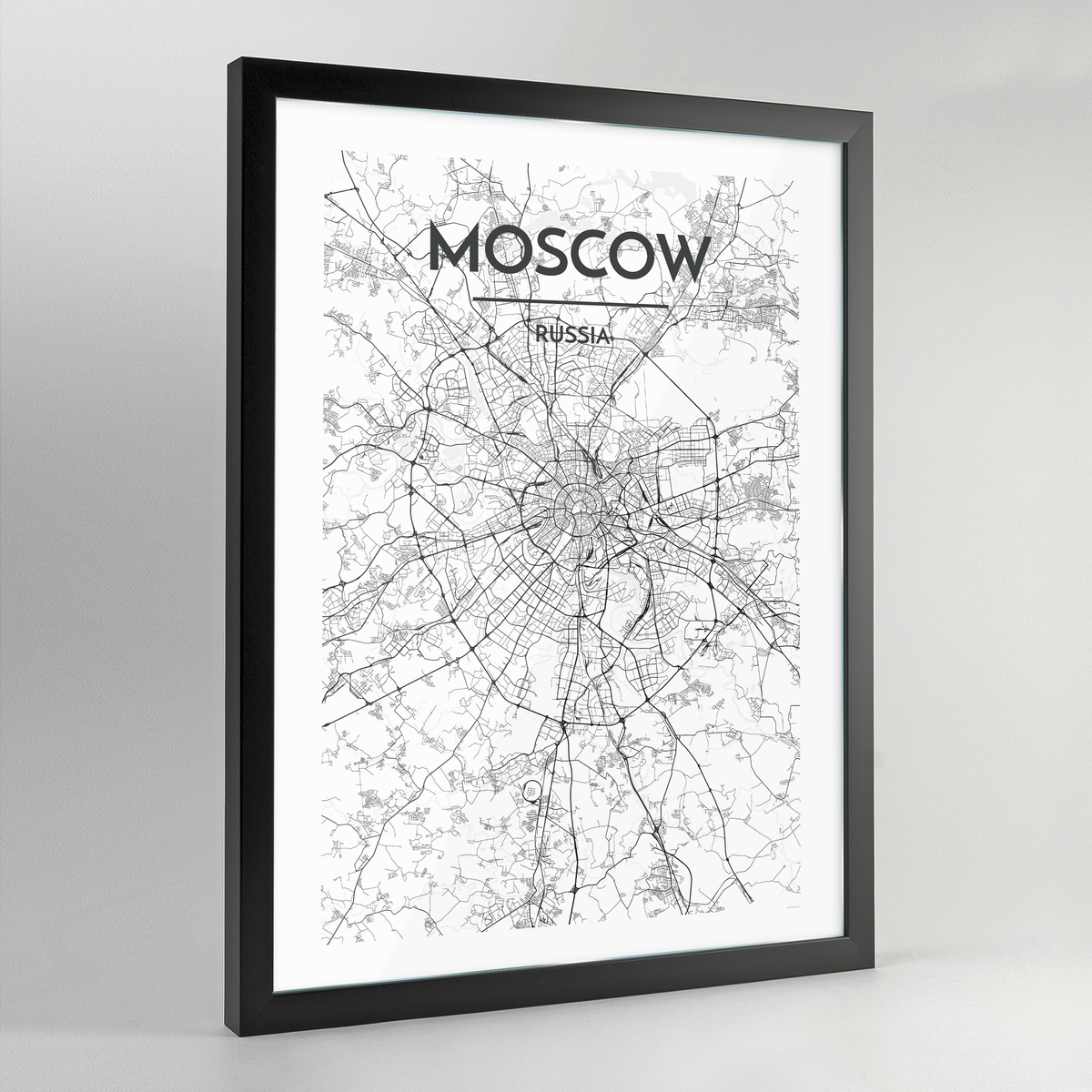 Moscow Map Art Print - Framed