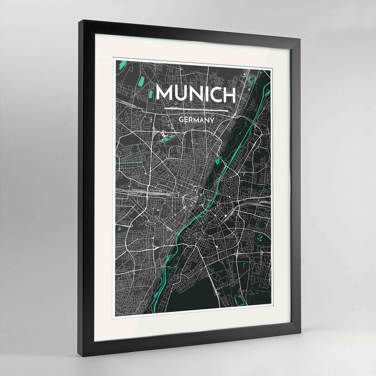 "Framed Munich Map Art Print 24x36"" Contemporary Black frame Point Two Design Group"