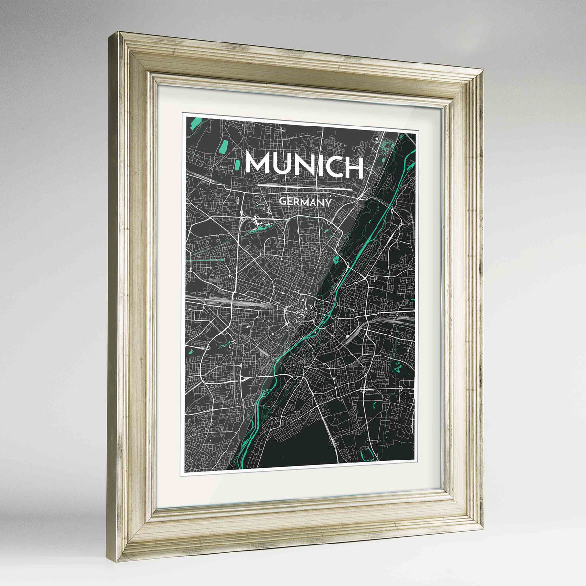 "Framed Munich Map Art Print 24x36"" Champagne frame Point Two Design Group"