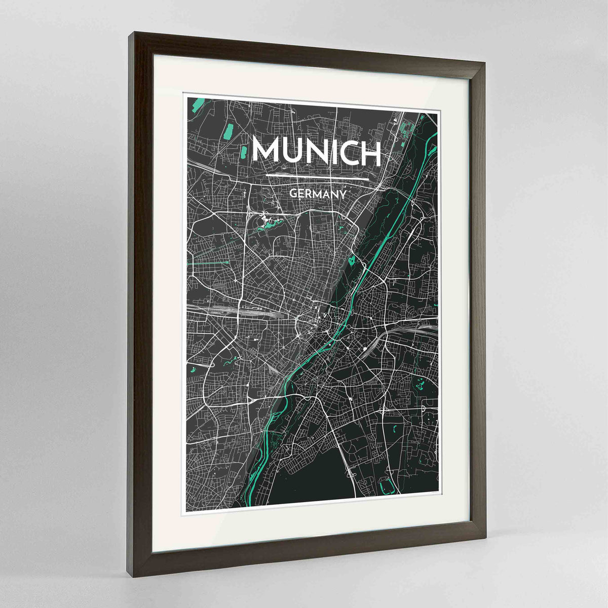 "Framed Munich Map Art Print 24x36"" Contemporary Walnut frame Point Two Design Group"