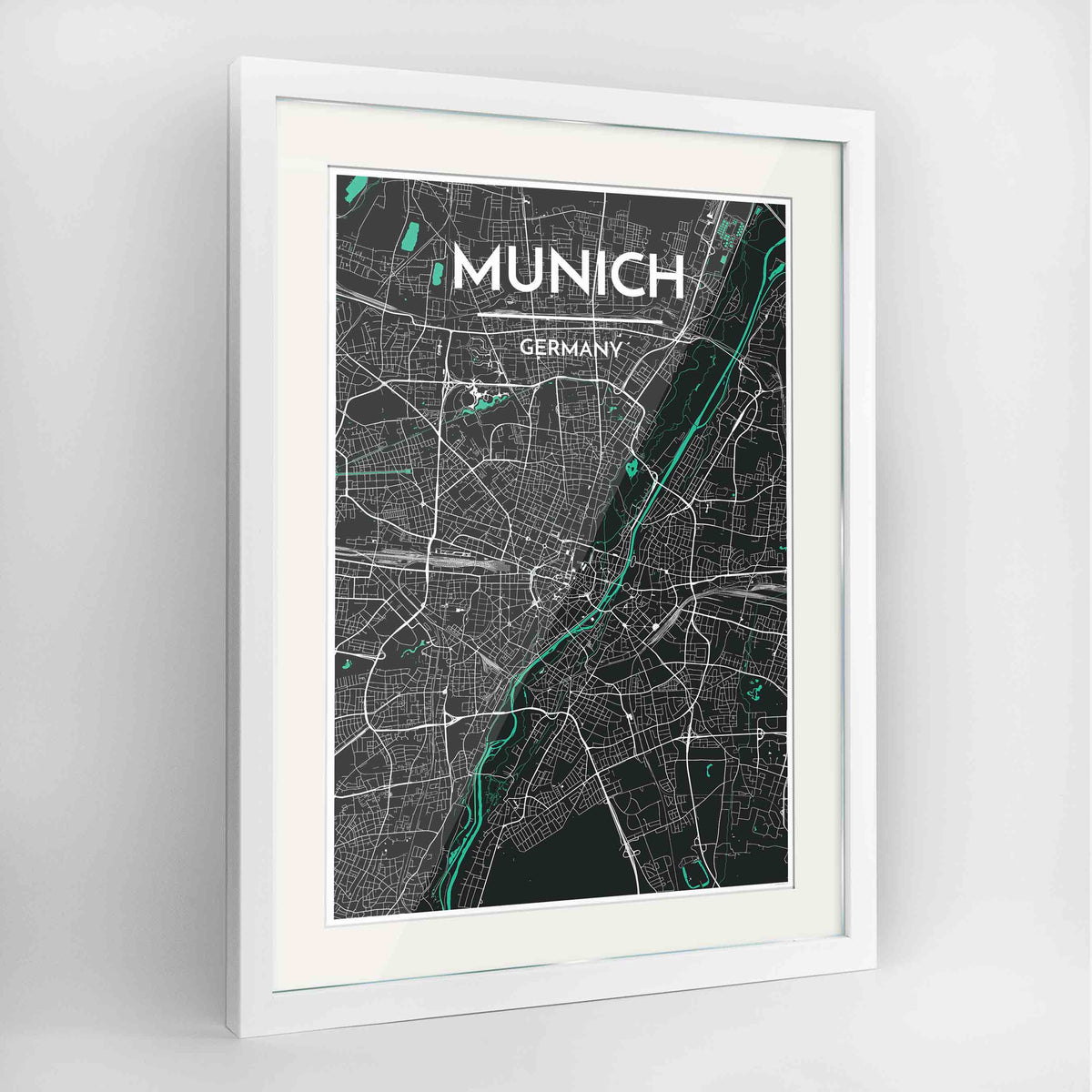 "Framed Munich Map Art Print 24x36"" Contemporary White frame Point Two Design Group"