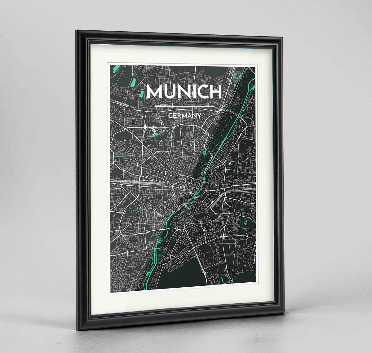 "Framed Munich Map Art Print 24x36"" Traditional Black frame Point Two Design Group"
