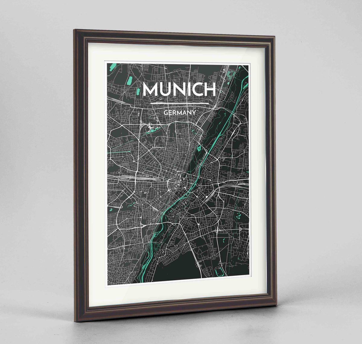 "Framed Munich Map Art Print 24x36"" Traditional Walnut frame Point Two Design Group"