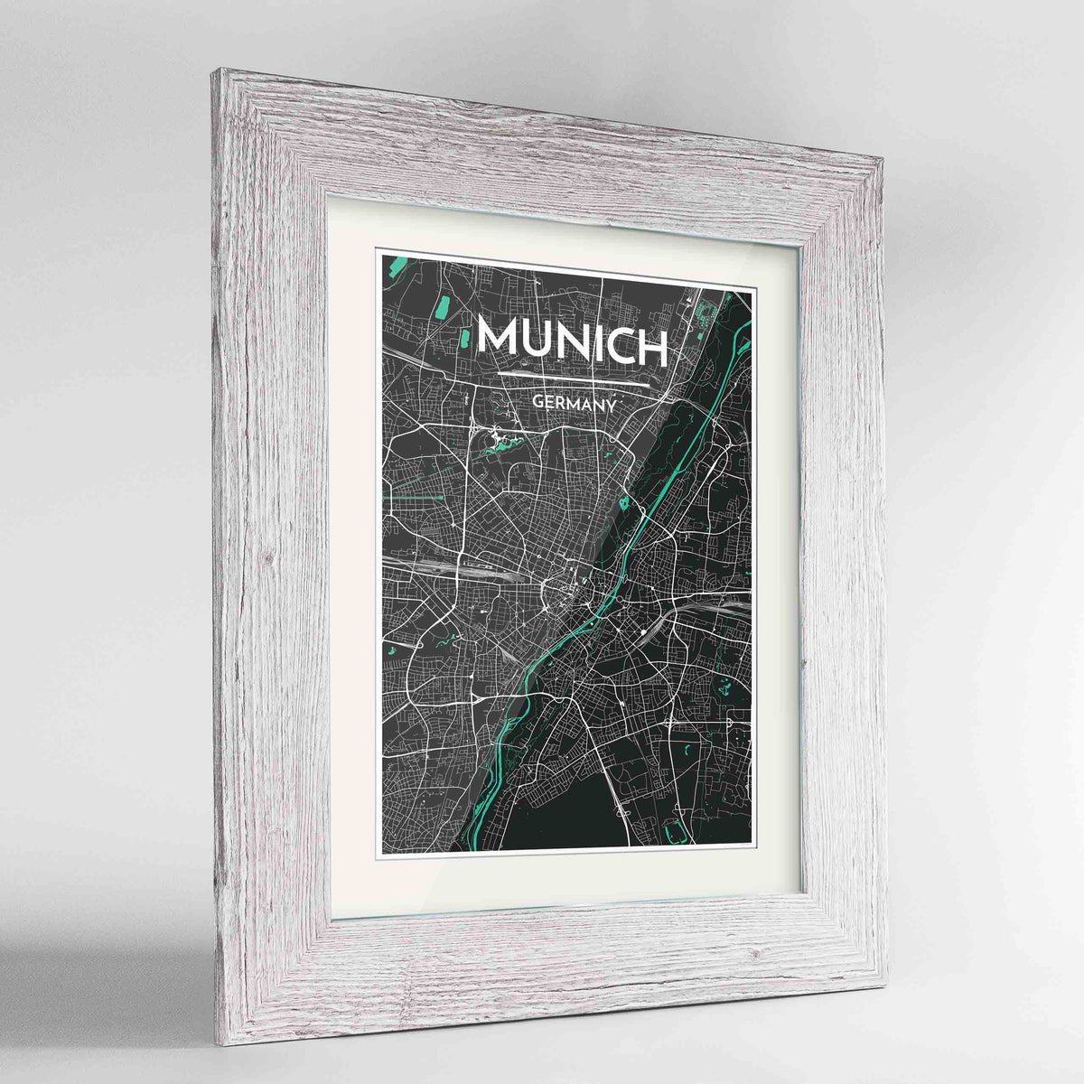 "Framed Munich Map Art Print 24x36"" Western White frame Point Two Design Group"