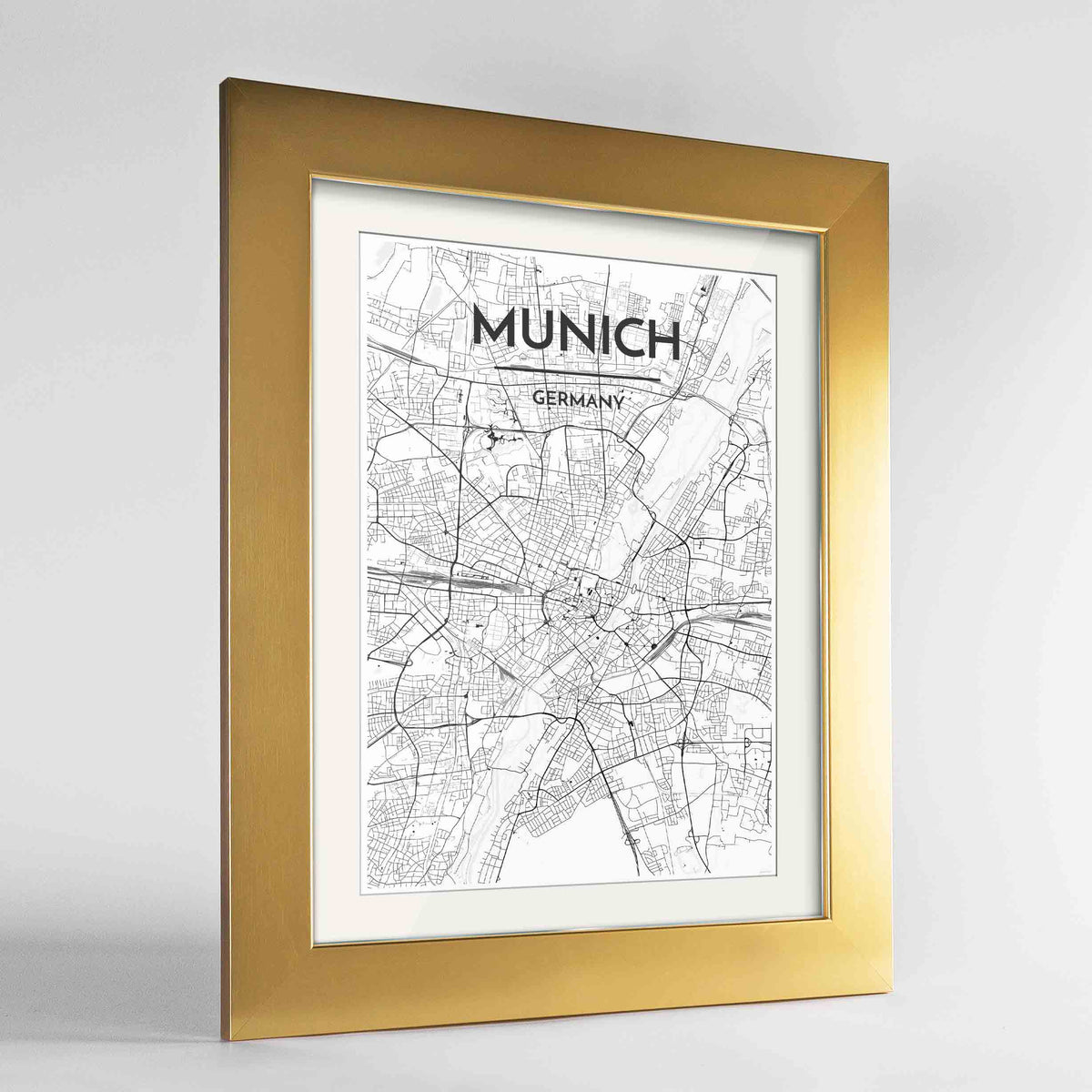 "Framed Munich Map Art Print 24x36"" Gold frame Point Two Design Group"