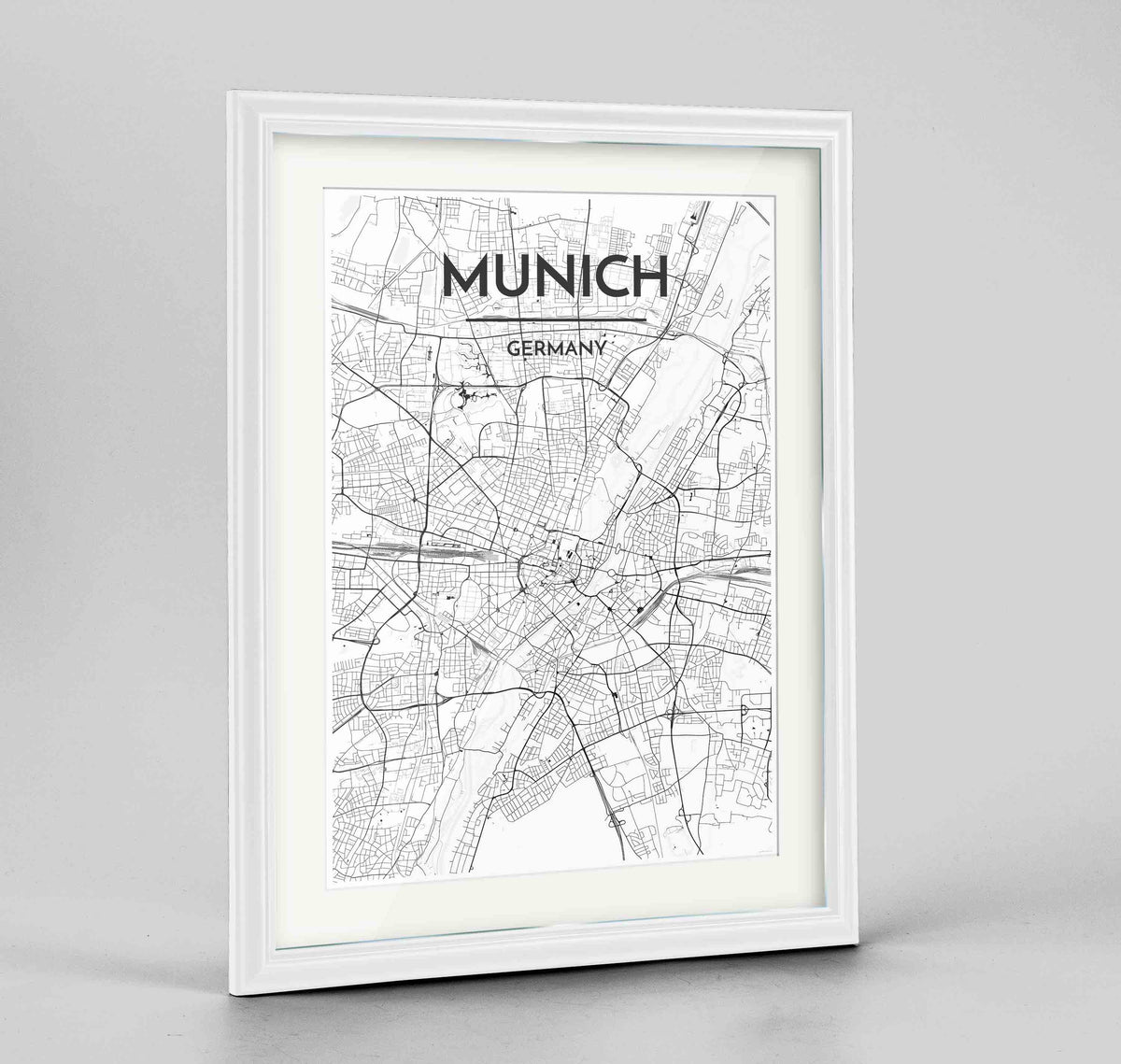 "Framed Munich Map Art Print 24x36"" Traditional White frame Point Two Design Group"