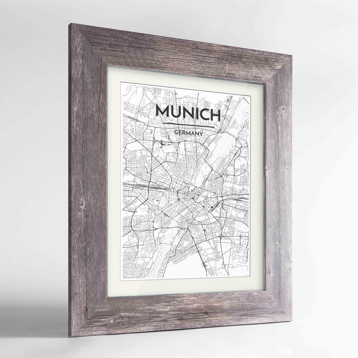 "Framed Munich Map Art Print 24x36"" Western Grey frame Point Two Design Group"