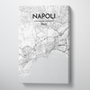 Napoli City Map Canvas Wrap - Point Two Design - Black & White Print