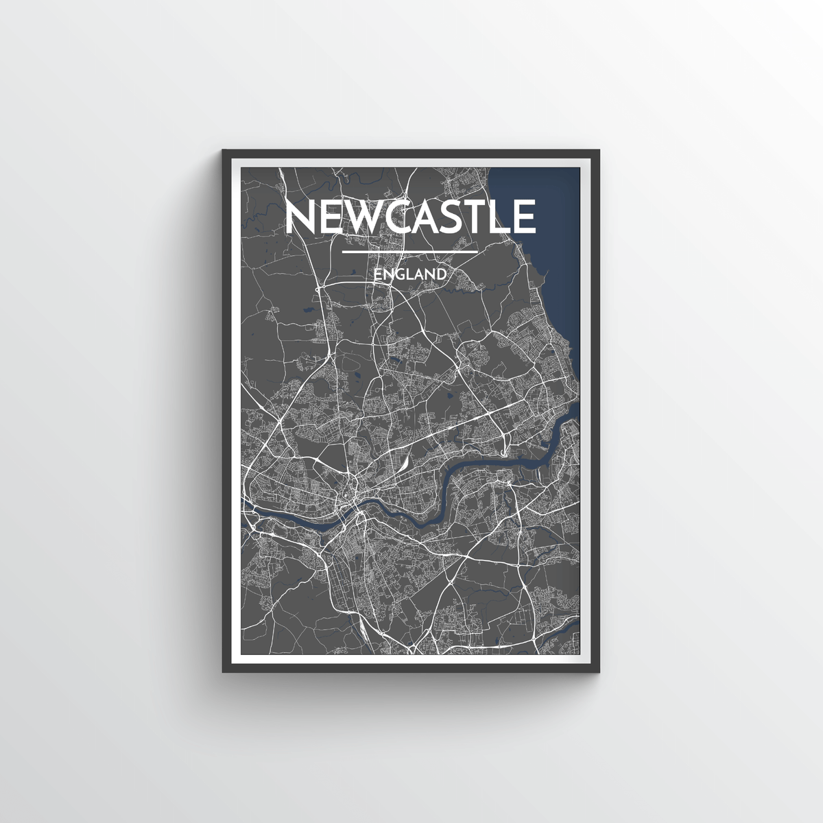 Newcastle City Map Art Print - Point Two Design - Black & White Print