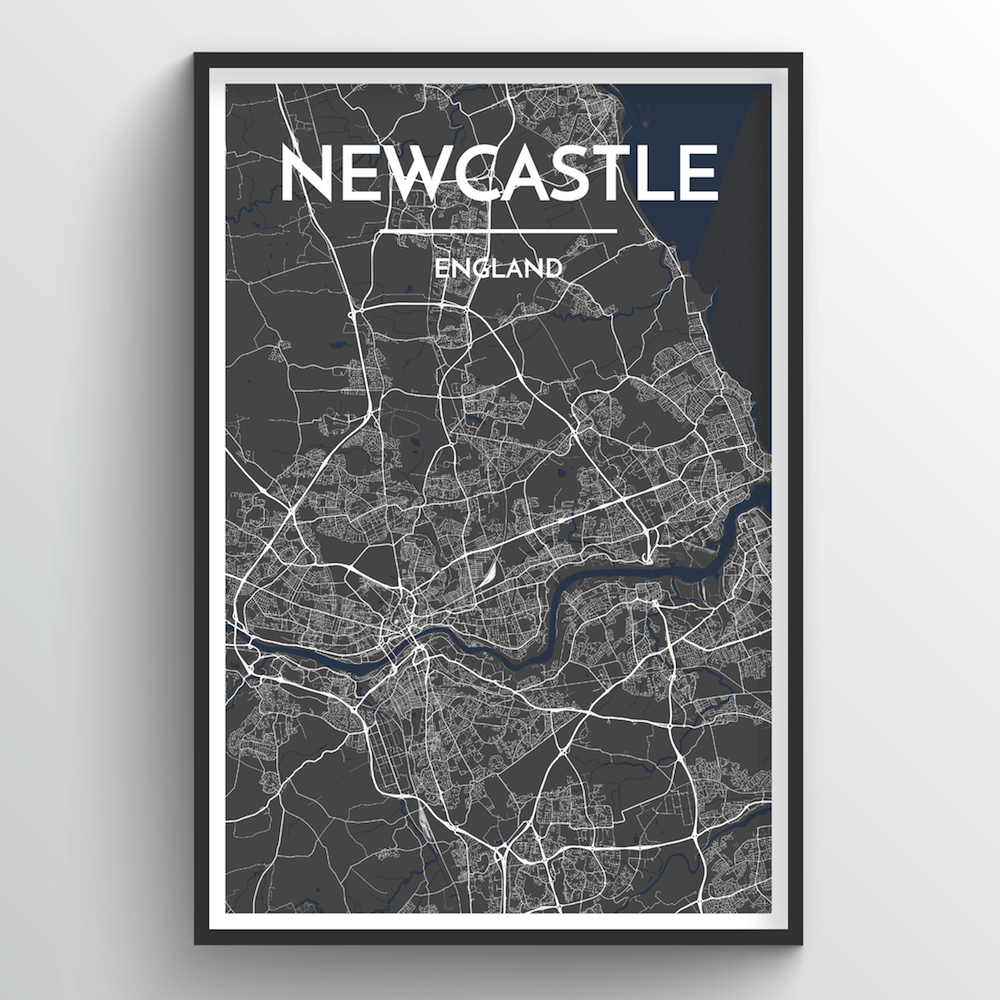 Newcastle City Map Art Print - Point Two Design