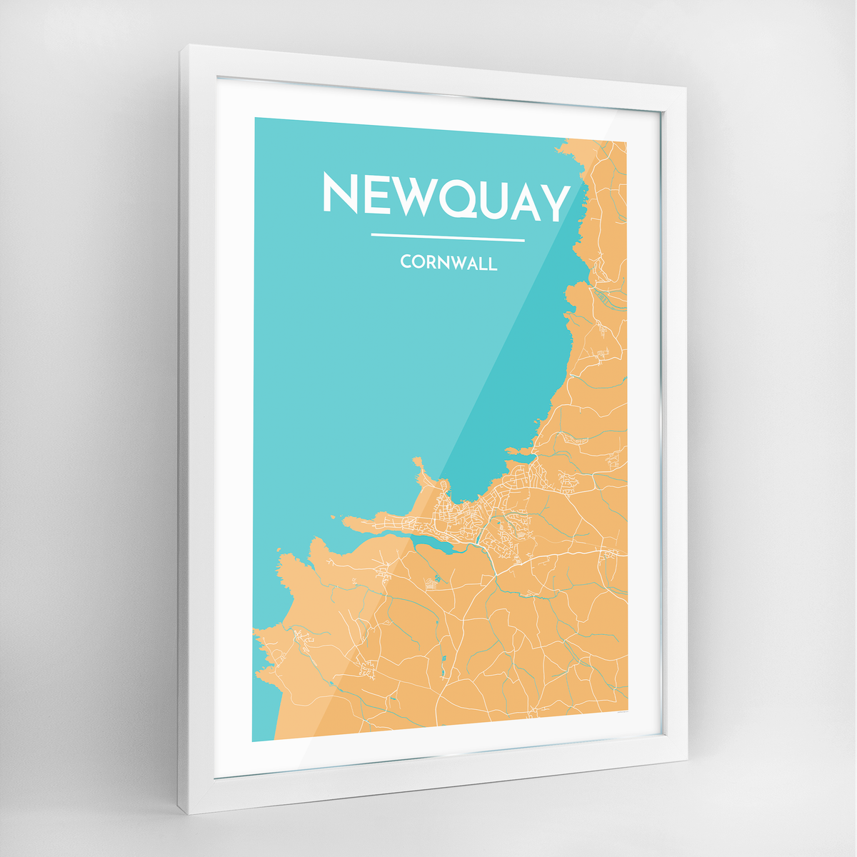Newquay Map Art Print - Framed