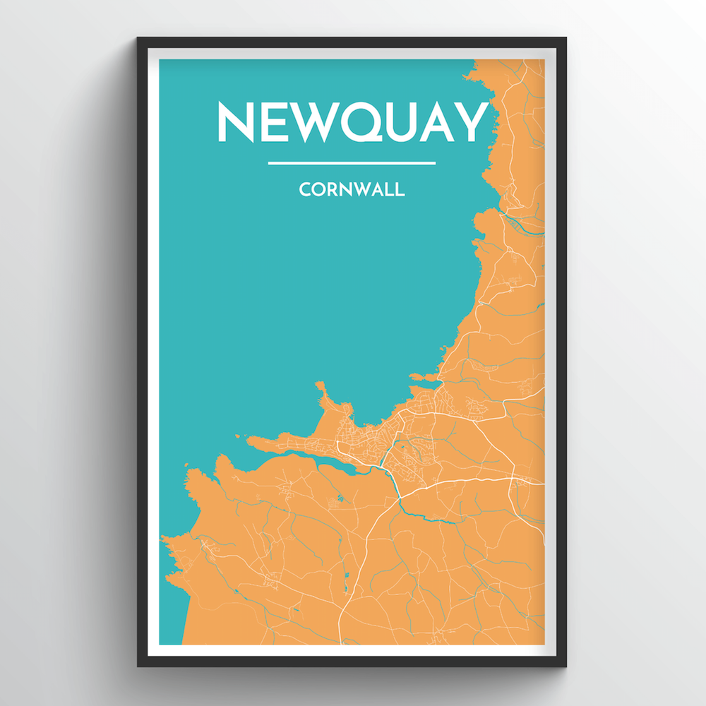Newquay City Map Art Print - Point Two Design