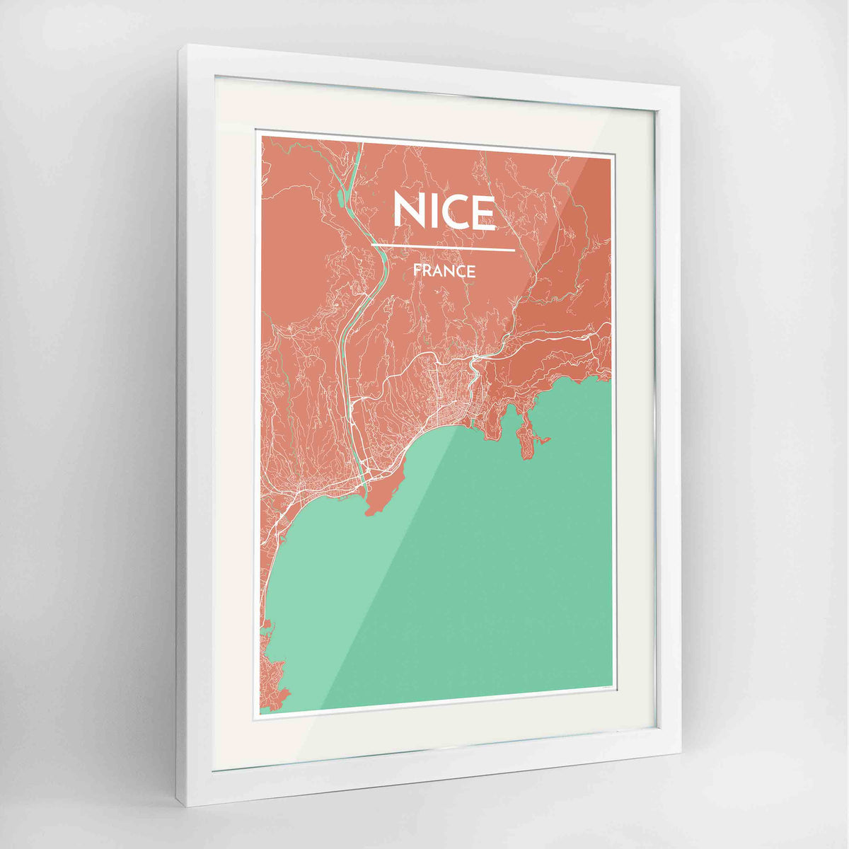 "Framed Nice Map Art Print 24x36"" Contemporary White frame Point Two Design Group"