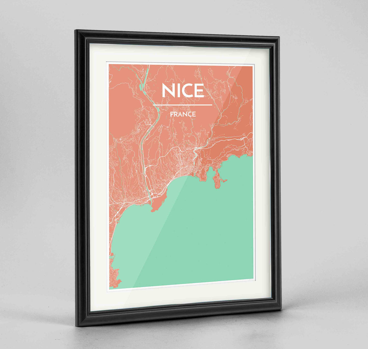 "Framed Nice Map Art Print 24x36"" Traditional Black frame Point Two Design Group"