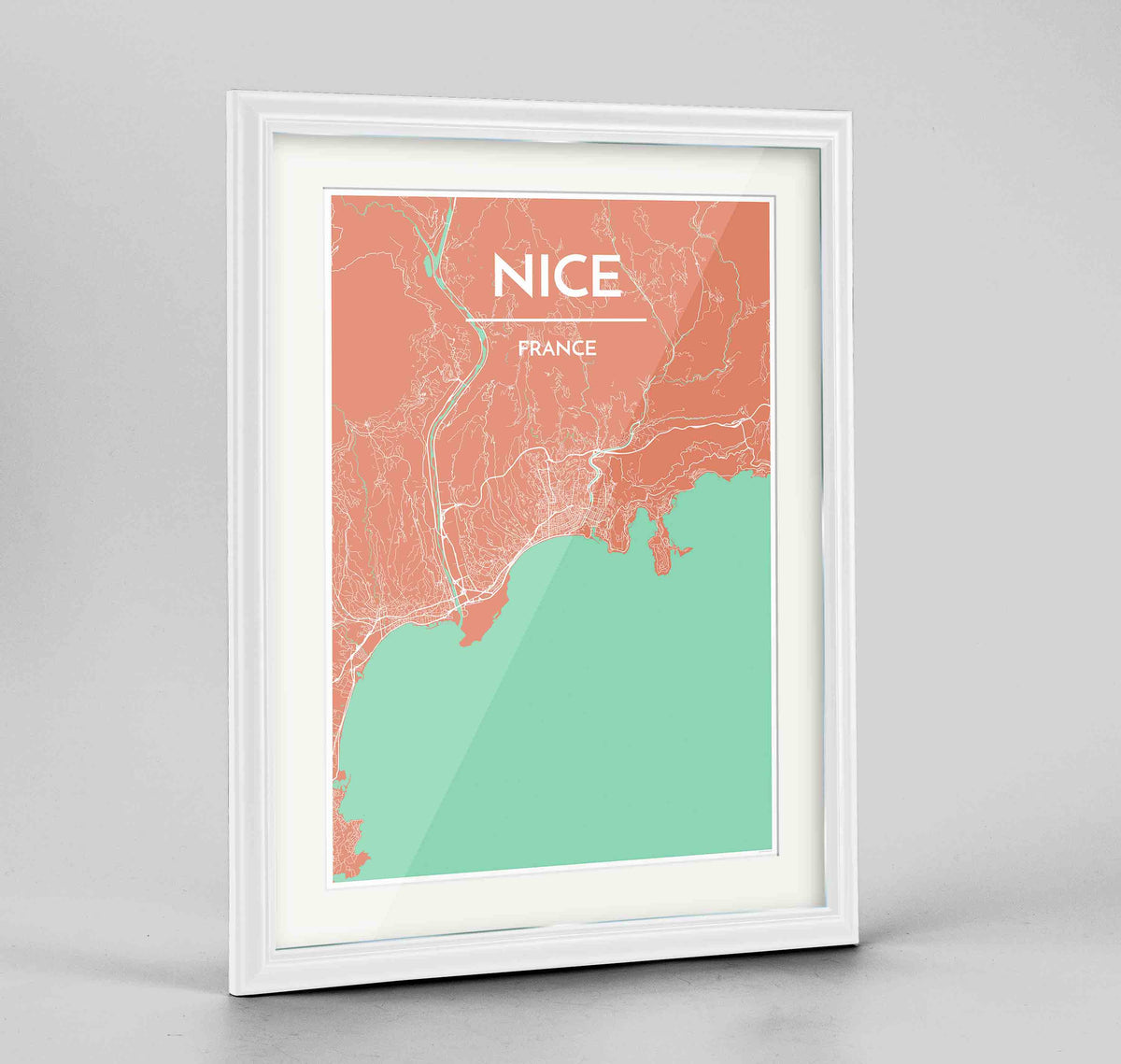 "Framed Nice Map Art Print 24x36"" Traditional White frame Point Two Design Group"