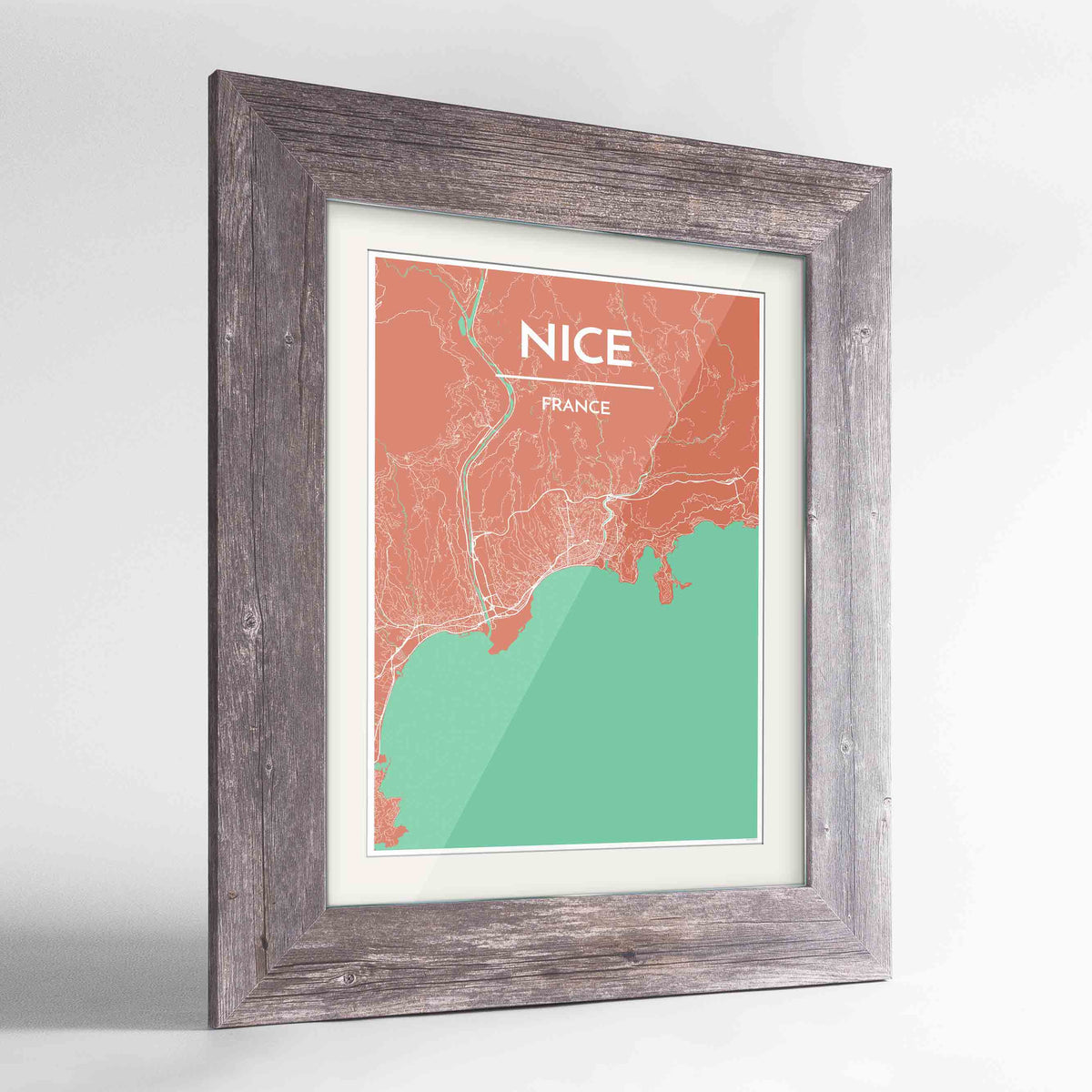 "Framed Nice Map Art Print 24x36"" Western Grey frame Point Two Design Group"