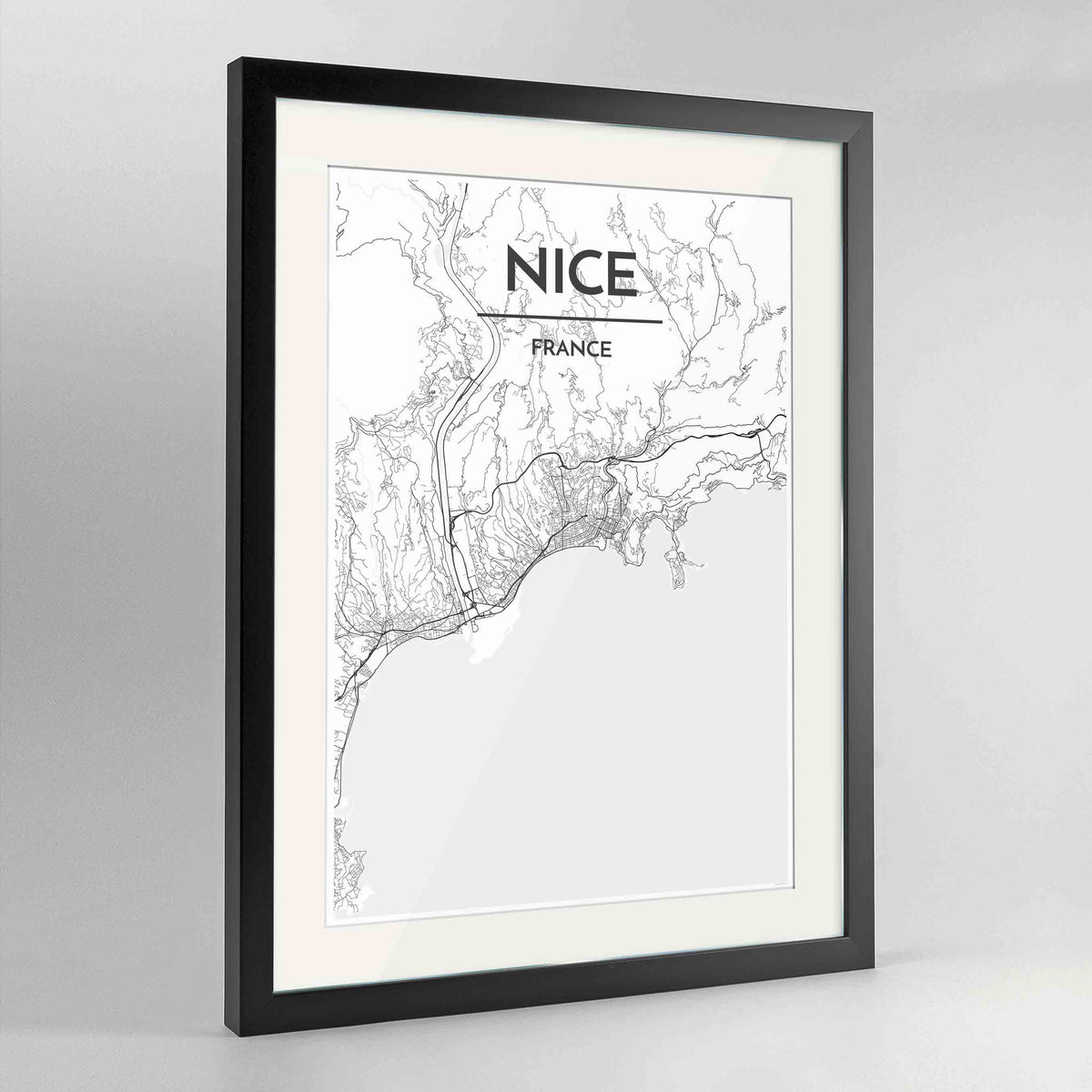"Framed Nice Map Art Print 24x36"" Contemporary Black frame Point Two Design Group"