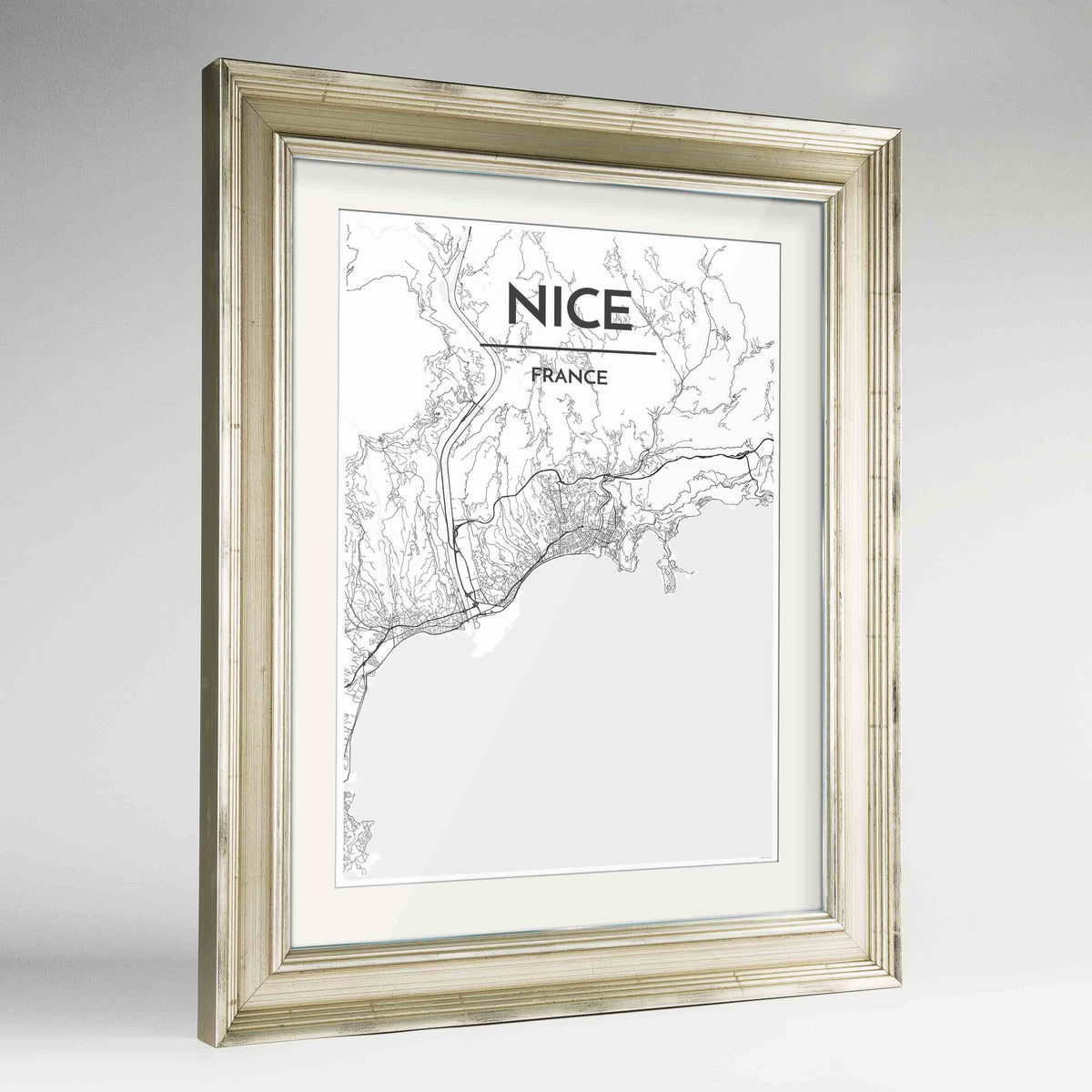 "Framed Nice Map Art Print 24x36"" Champagne frame Point Two Design Group"