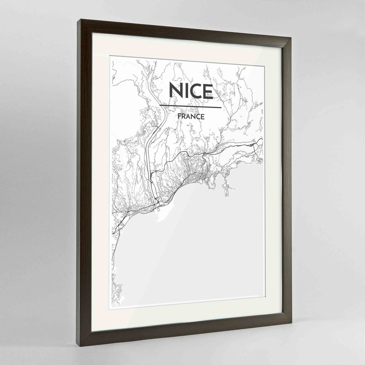 "Framed Nice Map Art Print 24x36"" Contemporary Walnut frame Point Two Design Group"