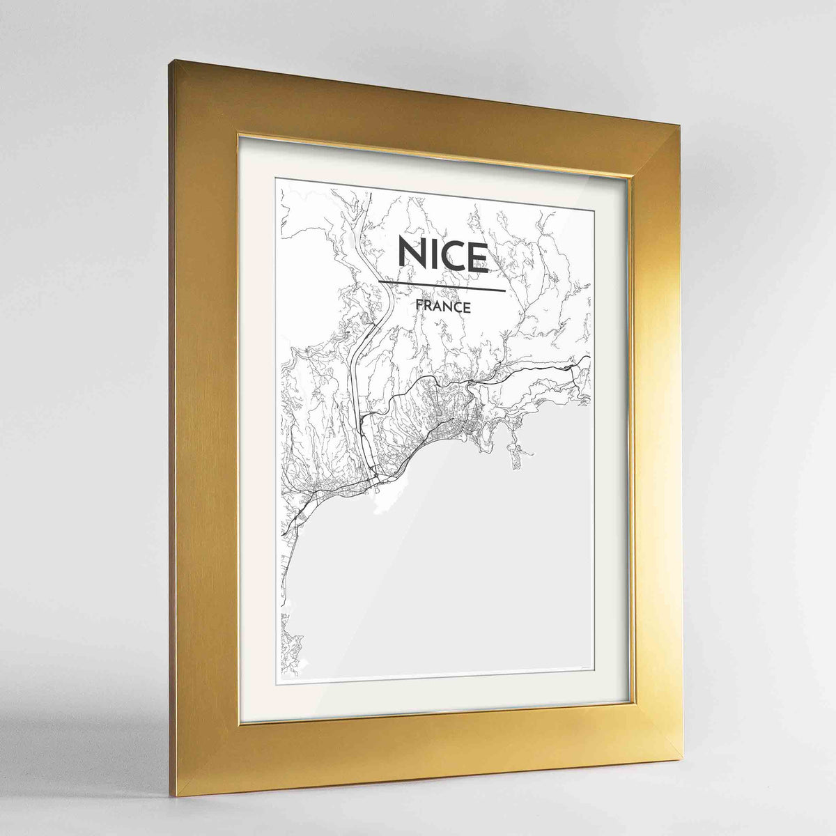 "Framed Nice Map Art Print 24x36"" Gold frame Point Two Design Group"
