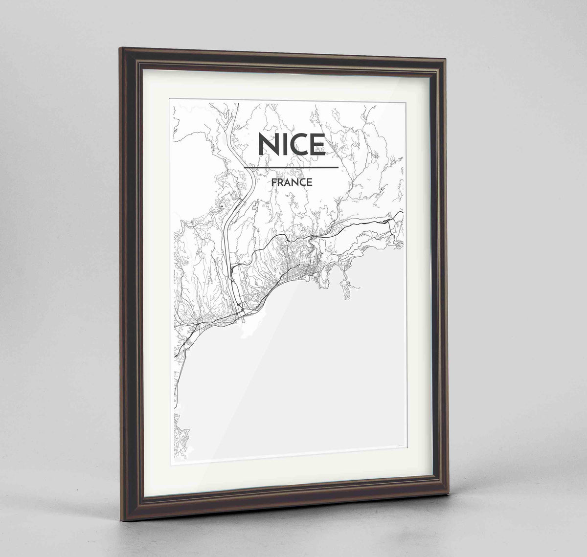 "Framed Nice Map Art Print 24x36"" Traditional Walnut frame Point Two Design Group"