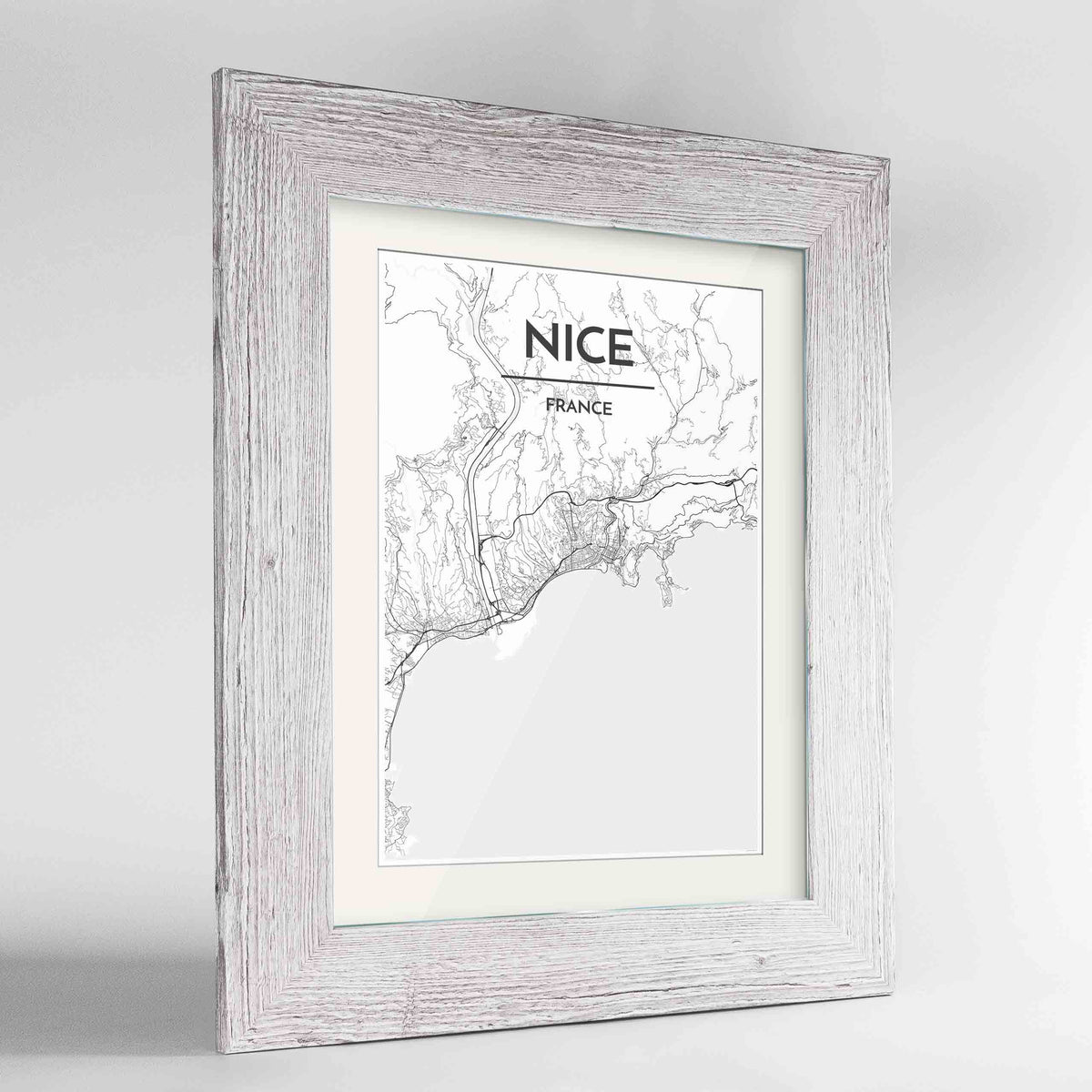 "Framed Nice Map Art Print 24x36"" Western White frame Point Two Design Group"