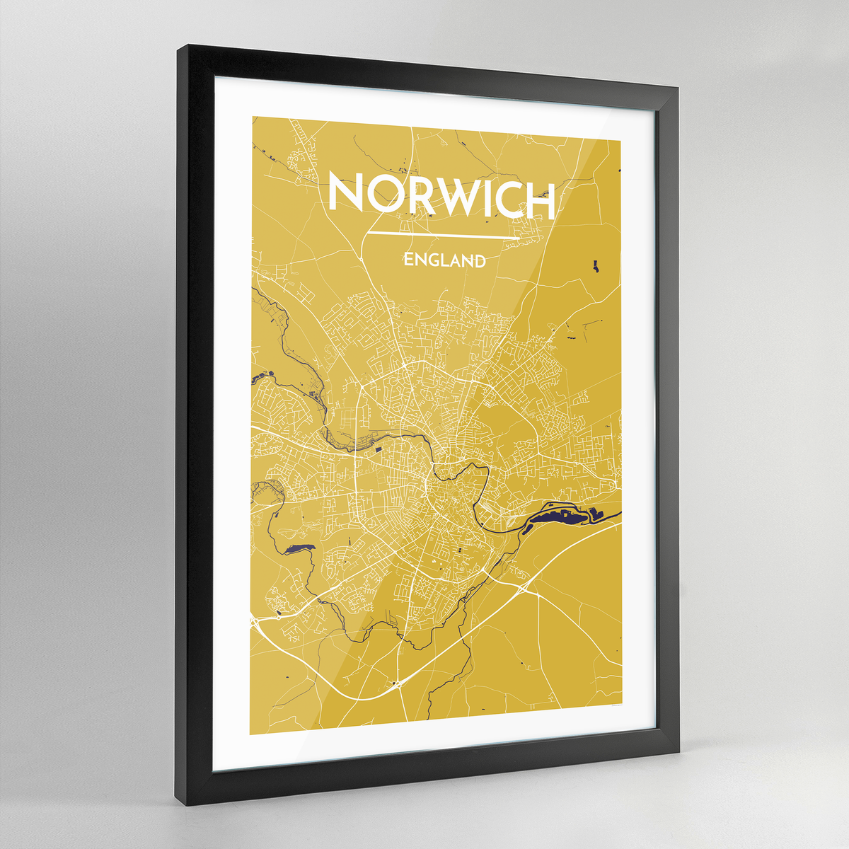 Framed Norwich City Map Art Print - Point Two Design