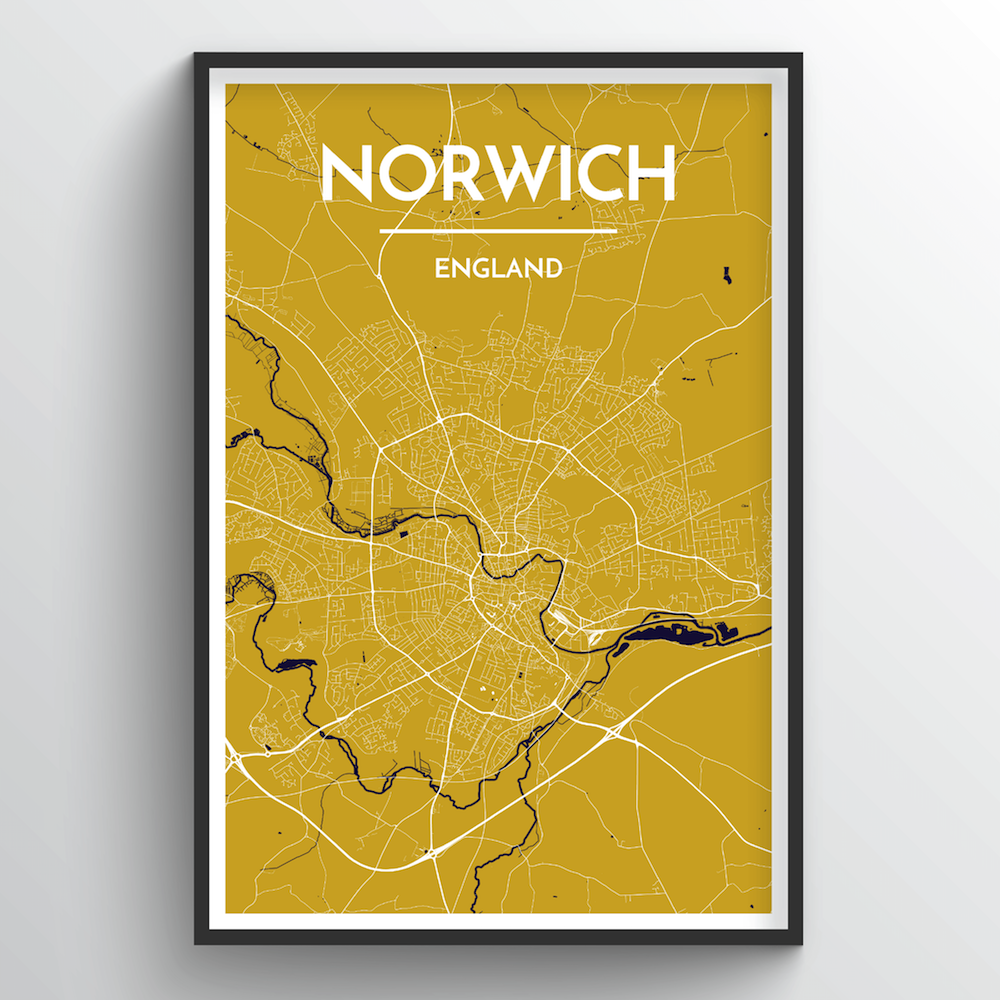 Norwich City Map Art Print - Point Two Design